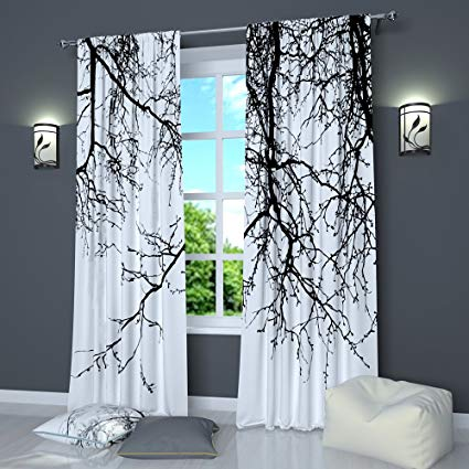 Black And White Curtains by Factory4me Black Branches. Window Curtain Set  of 2 Panels Each