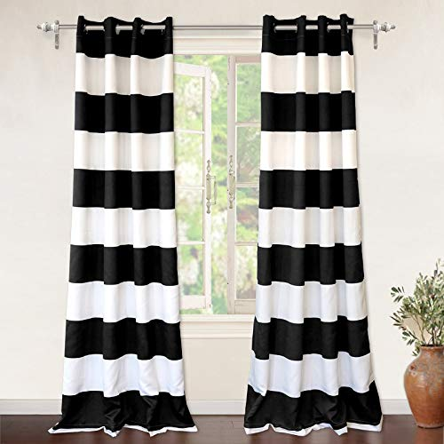 DriftAway Mia Stripe Thermal Insulated Room Darkening Grommet Unlined  Window Curtains, Set of Two Panels