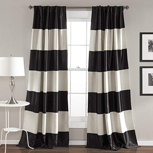 "Traveller Location: Lush Decor Montego Striped Window Curtains Panel Set for  Living, Dining Room, Bedroom (Pair), 84"" x 52"" Black: Home & Kitchen"