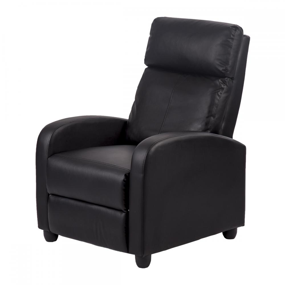 Details about Black Arm Chair Bonded Leather Single Recliner Chair Sofa  Accent Chair 87