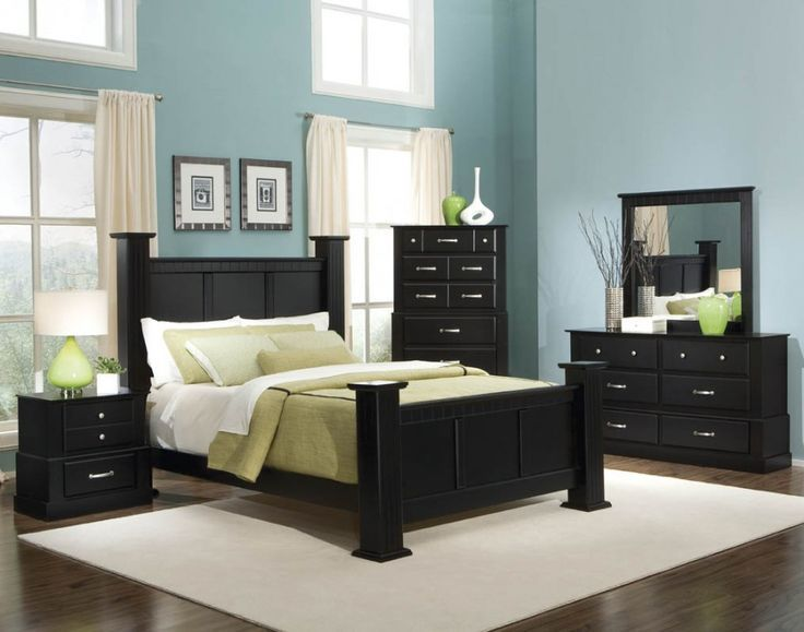 Bold Black Bedroom Furniture with Other Hues Mixture : Charming Blue