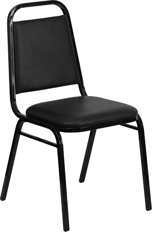 Economy Black Vinyl Stack Chair w/ Black Frame