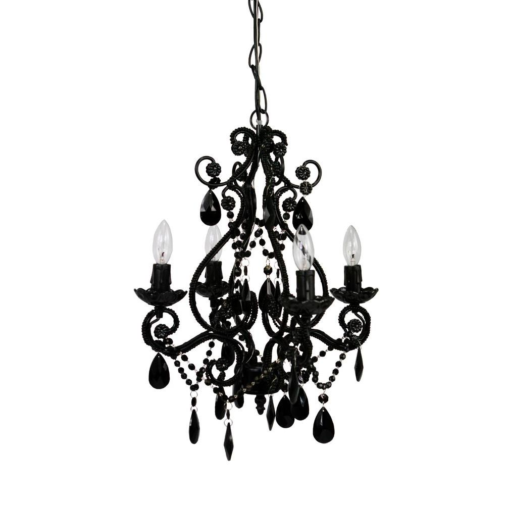 Tadpoles 4-Light Black Mini Chandelier