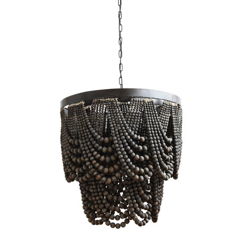3R Studio Black Metal and Wood Bead Chandelier