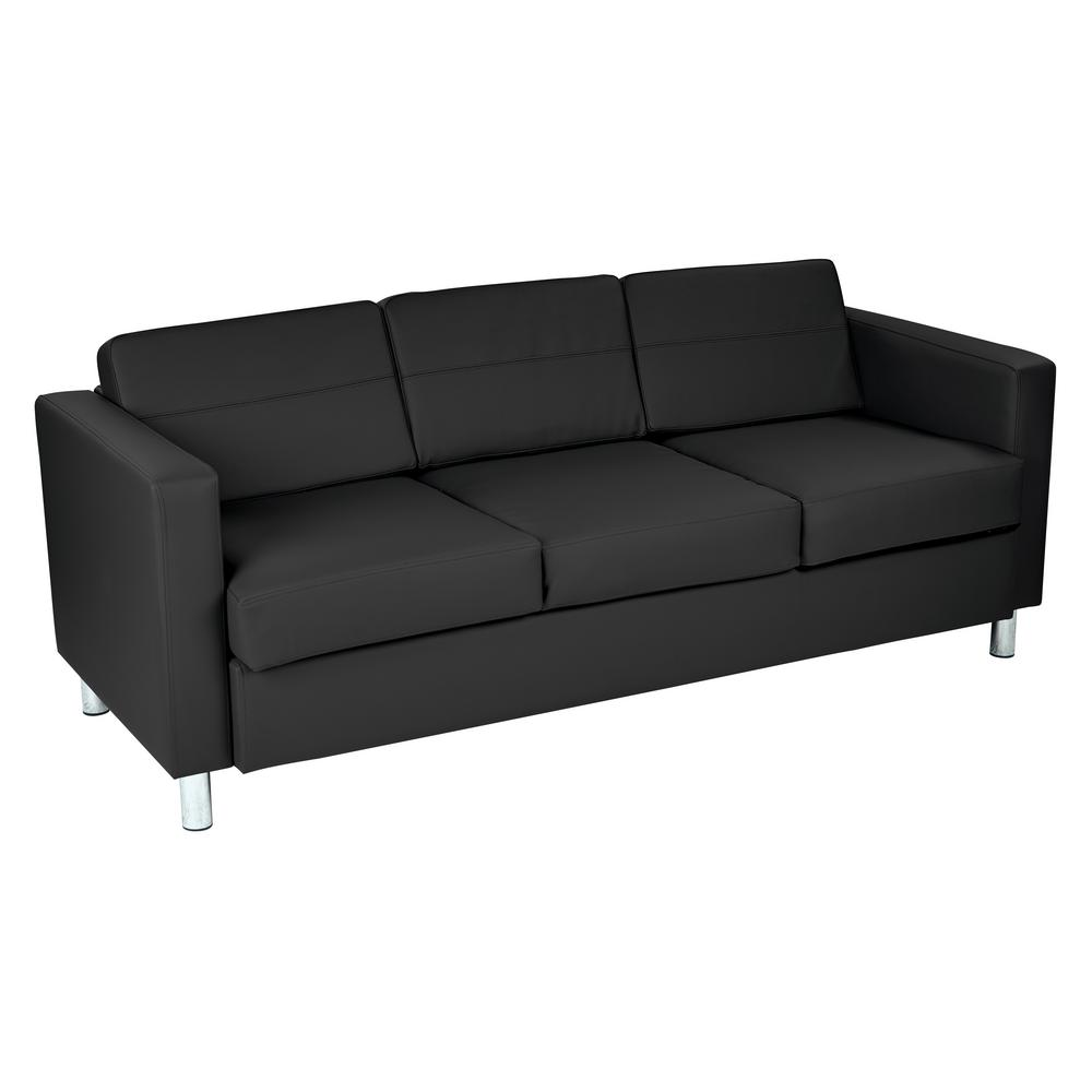 OSP Home Furnishings Pacific Dillon Black Vinyl Sofa Couch with Box Spring  Seats and Silver Color Legs-PAC53-R107 - The Home Depot