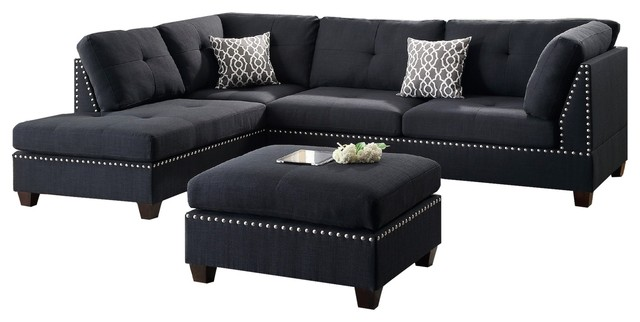 Modern Contemporary Sectional Sofa and Ottoman Set, Black - Contemporary -  Sectional Sofas - by Infini Furnishings