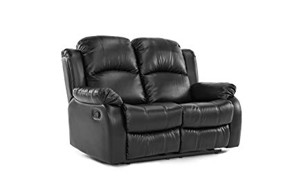 Classic Double Reclining Loveseat - Bonded Leather Living Room Recliner ( Black)