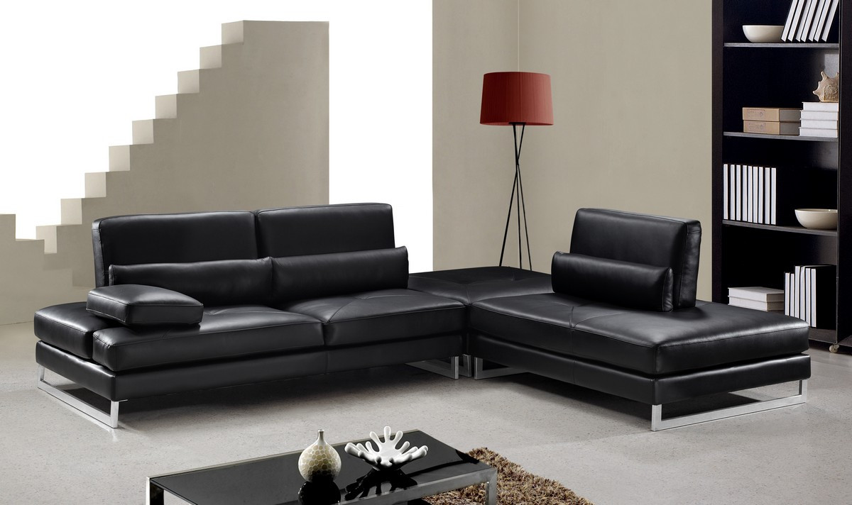 Your bookmark products. Tango Modern Black Leather Sectional Sofa