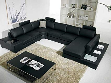 Image Unavailable. Image not available for. Color: T35 Black Bonded Leather  Sectional Sofa