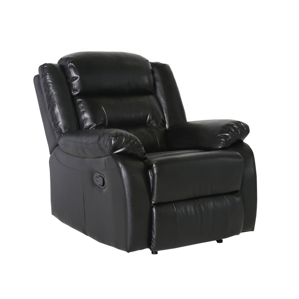 Furniture of America Simmons Black Bonded Leather Match Recliner Chair