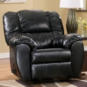 Image is loading BIG-Black-Leather-Rocker-Recliner-Armchairs-Arm-Chair-