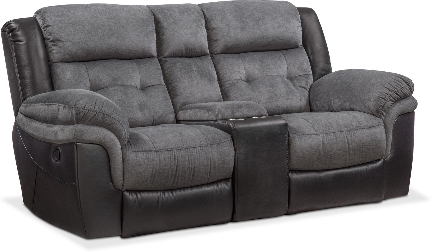 Tacoma Manual Reclining Loveseat with Console - Black
