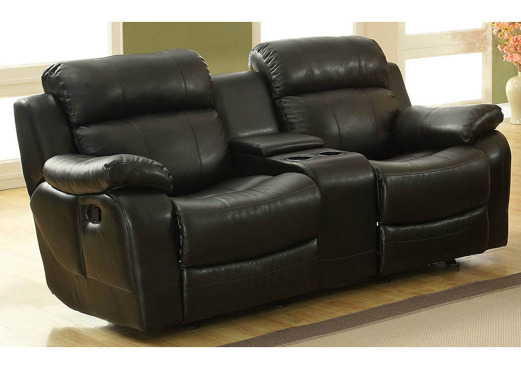Marille Black Double Glider Reclining Loveseat w/Center Console,Homelegance