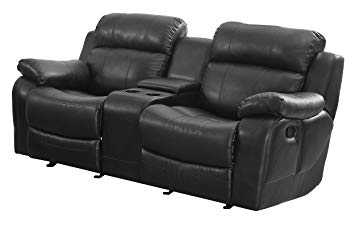 Traveller Location: Homelegance Marille Reclining Loveseat w/ Center Console Cup  Holder, Black Bonded Leather: Kitchen & Dining