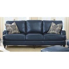 Blue leather roll arm sofa Blue Leather Couch, Leather Sofa Bed, Leather  Sectional Sofas