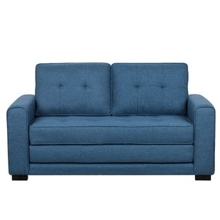 Blue Leather Loveseat Sofa Bed