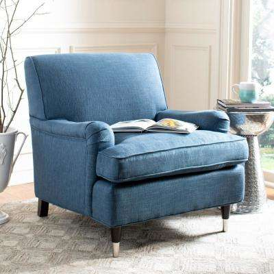 Chloe Navy/Espresso Linen Club Arm Chair