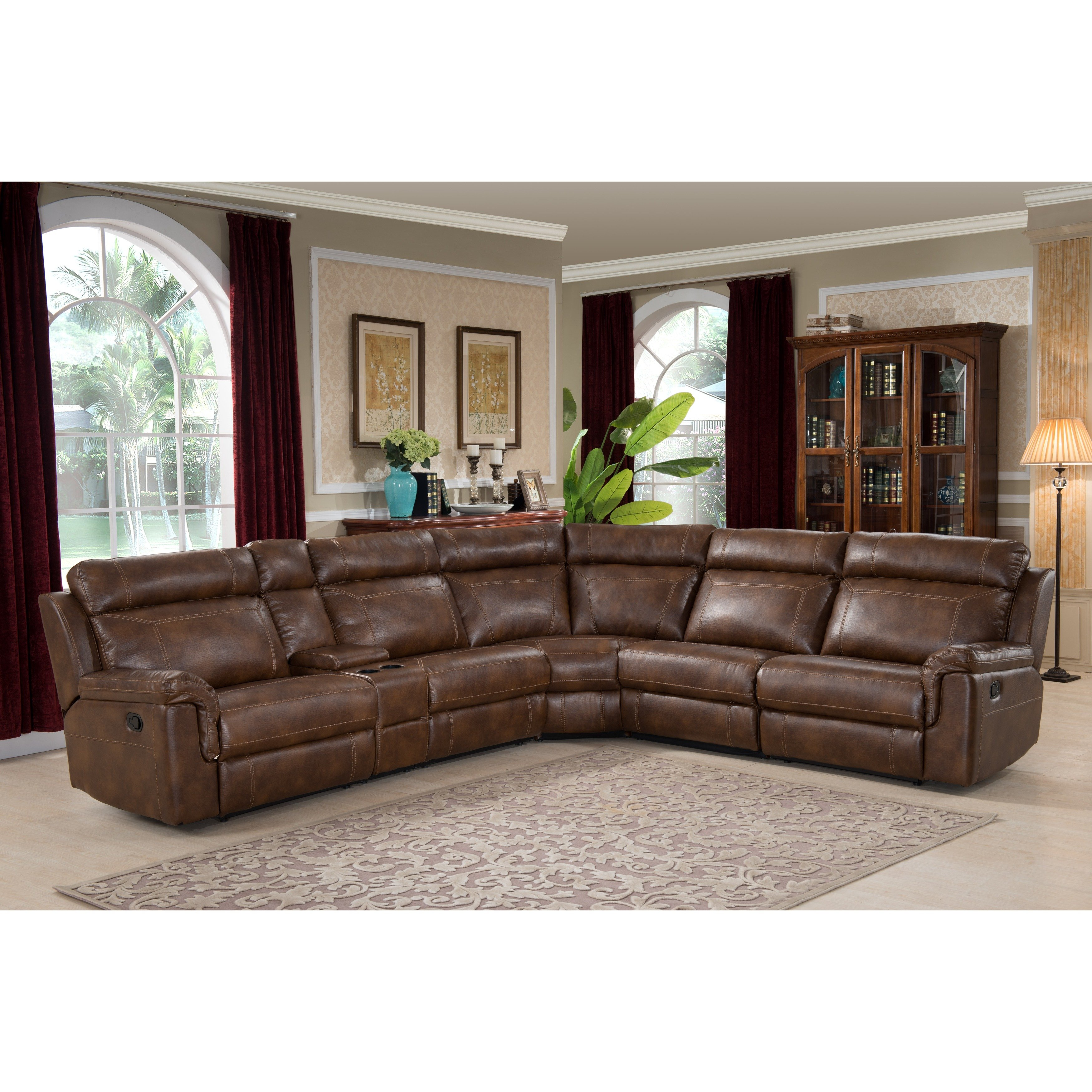 Nicole Reclining Brown Leather Sectional Sofa