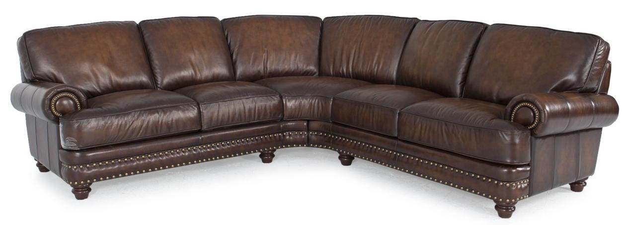 Futura Leather Westbury Leather Traditional Dark Brown Leather Sectional  with Nailhead Trim | Dunk & Bright Furniture | Sofa Sectional