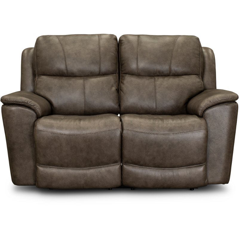 Sable Brown Leather-Match Power Reclining Loveseat - Cade
