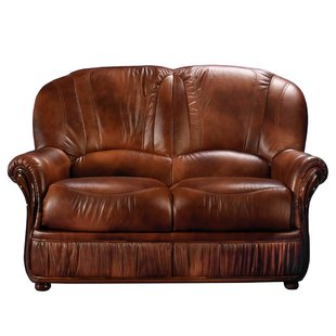 Florida Brown Leather Loveseat