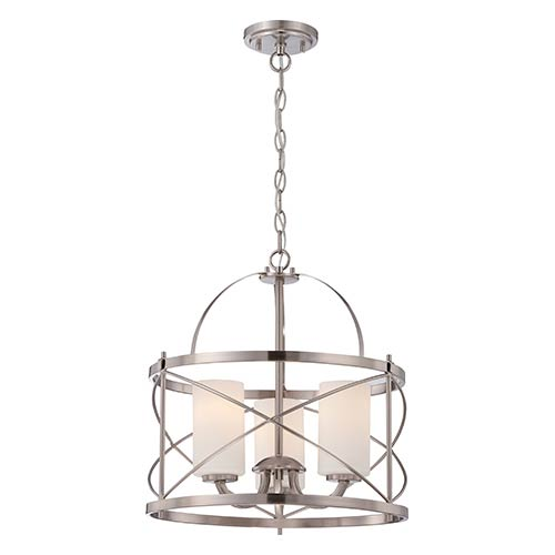 Nuvo Lighting Ginger Brushed Nickel Three Light Drum Pendant With