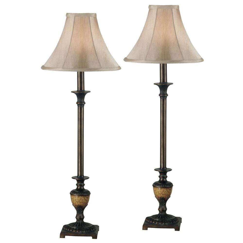 Crackled Bronze Buffet Lamp Set (2-Pack)