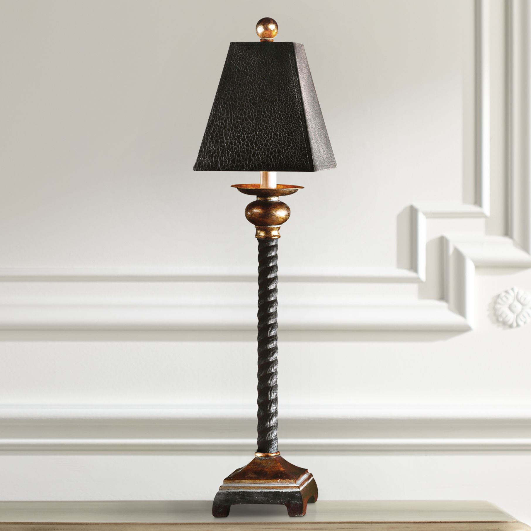 Uttermost Bellcord Black and Bronze Buffet Table Lamp