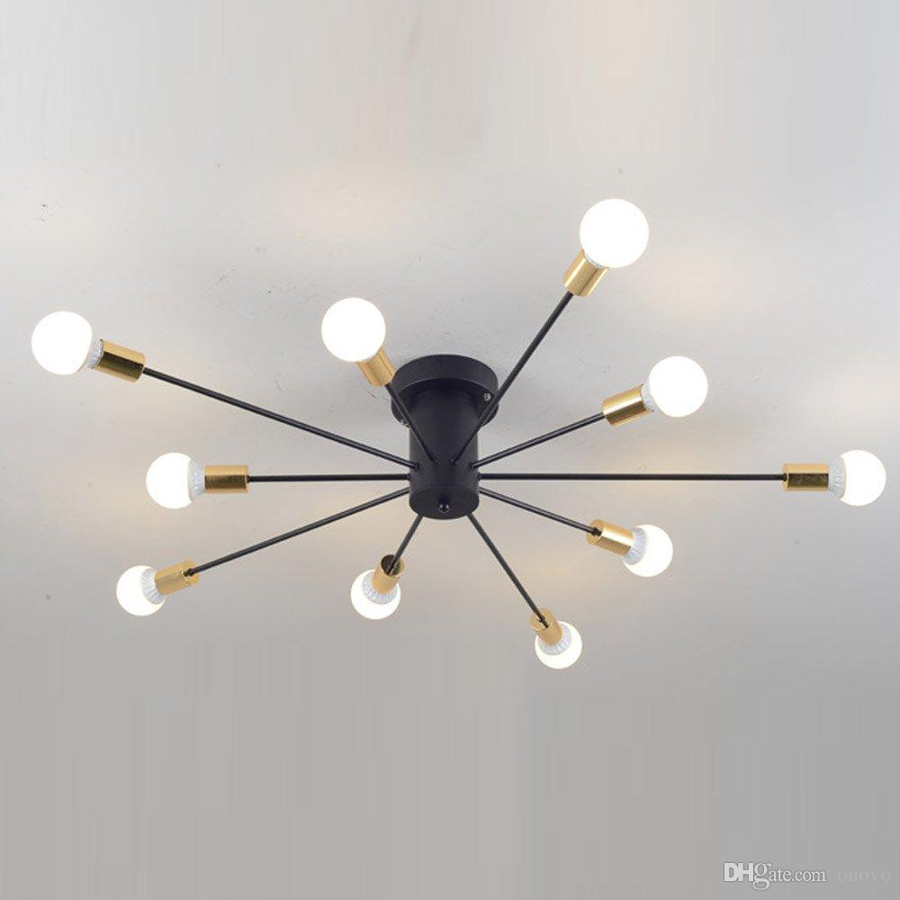 2019 Creative Iron Spark Living Room Ceiling Lamp Bedroom Spider Ceiling  Light Modern Nordic American Corridor Ceiling Light Fixtures From Ouovo,