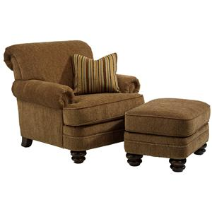 Flexsteel Fremont Traditional Rolled Back Chair & Ottoman Set | Crowley  Furniture & Mattress | Chair & Ottoman Sets