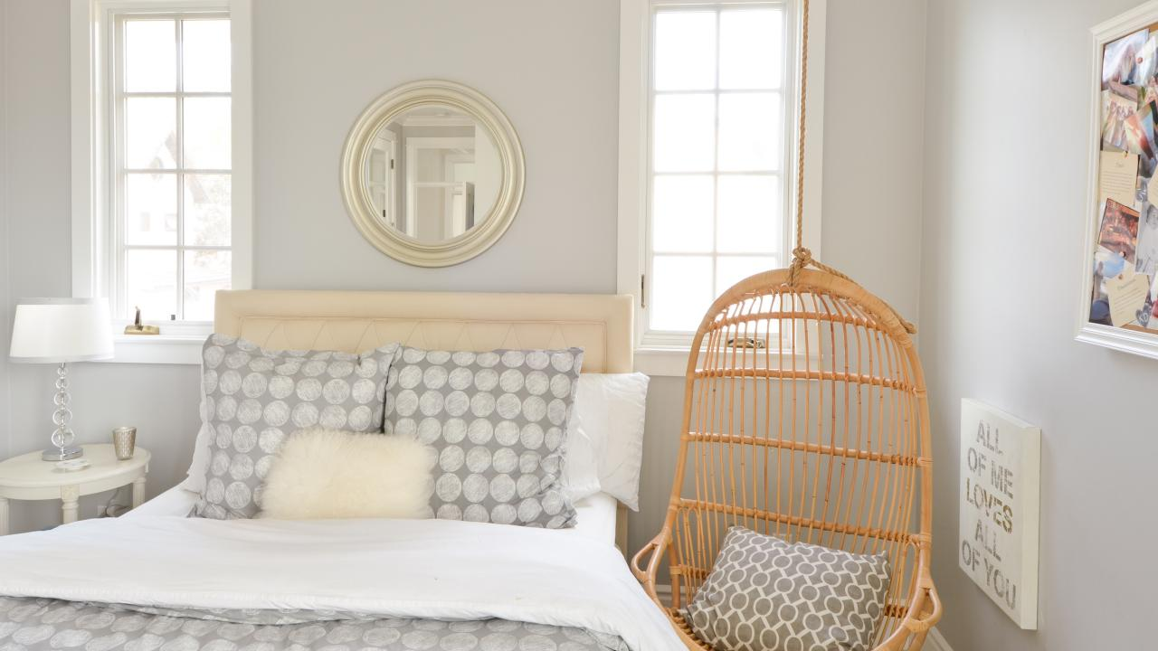 Gray Bedroom With Hanging Chair