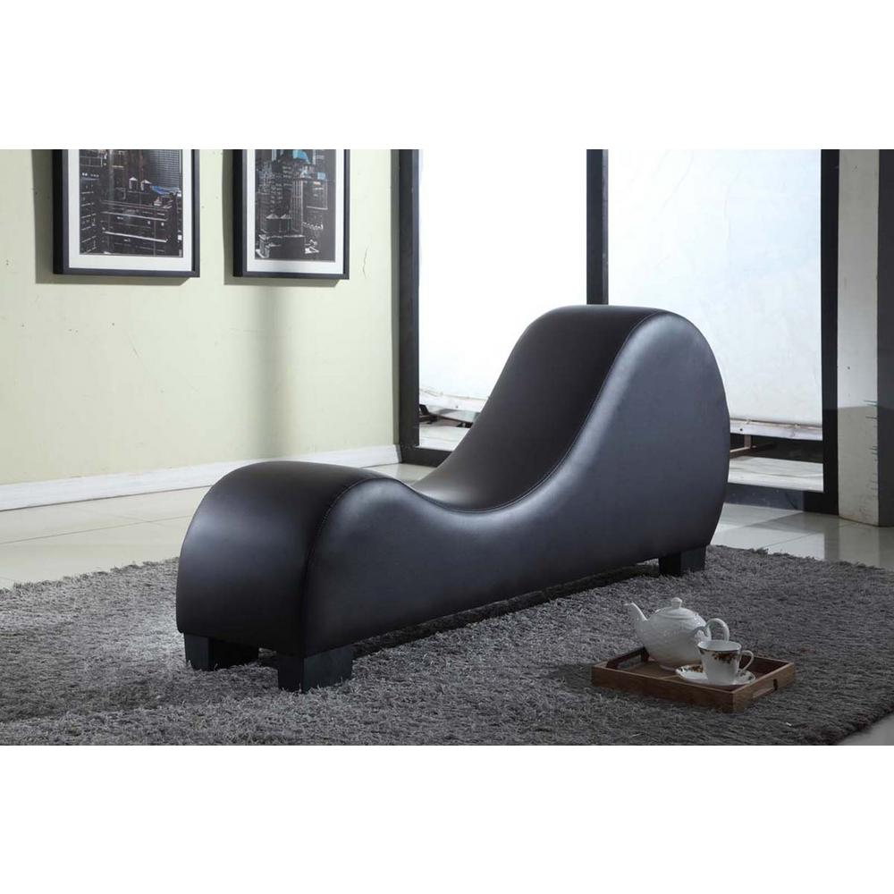 Black Faux Leather Chaise Lounge