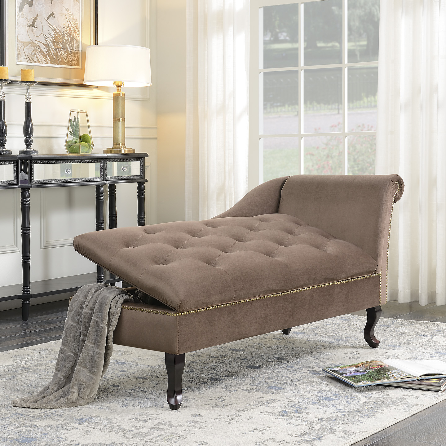 Product Image Belleze Velveteen Tufted Chaise Lounge Chair Couch for Living  Room Nailhead Trim with Storage, Brown