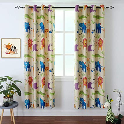 BGment Kids Blackout Curtains - Grommet Thermal Insulated Room Darkening  Printed Animal Zoo Patterns Nursery and