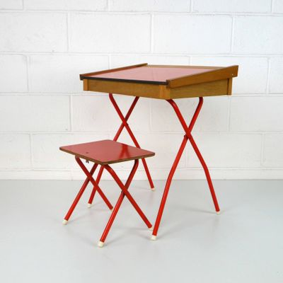 Vintage Red Children's Desk and Stool, 1970s, Set of 2 for sale at