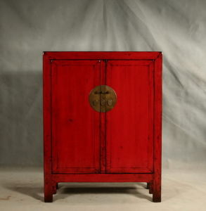 Antique Red Solid Wood Elm Chinese Furniture Shoe Cabinet