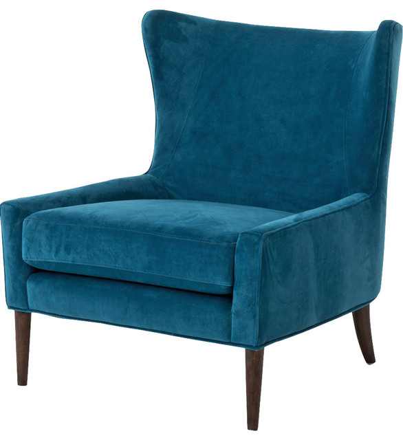 Paola Modern Classic Peacock Blue Velvet Wing Lounge Chair - Modern -  Armchairs And Accent Chairs - by Kathy Kuo Home