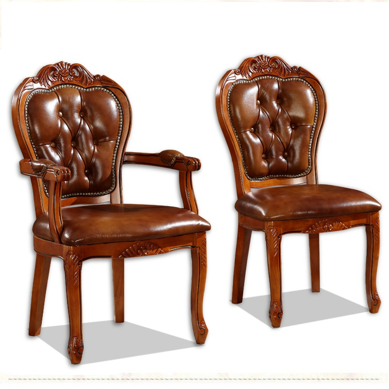 European solid wood dining chair hotel coffee chairs study armchairs classic