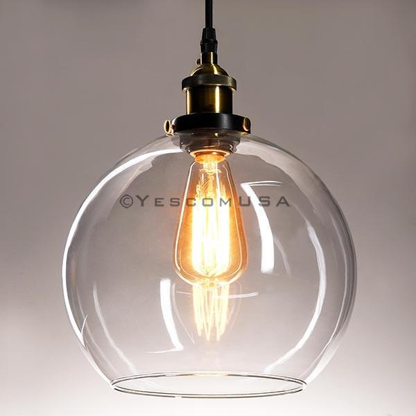 9 4/5 in Vintage Classic Clear Glass Pendant Light Globe Shade
