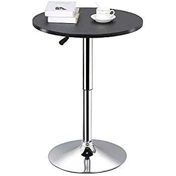 Topeakmart Round Pub Table Bar Height MDF Top Adjustable 360 Swivel Bar  Tables Tall Cocktail Tables