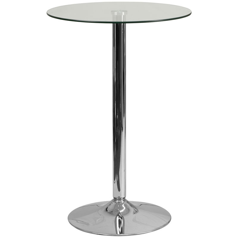 Round glass highboy cocktail table 35.5″ tall