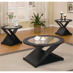 Coaster Contemporary 3 Piece Occasional Round Table Set in Rich Black