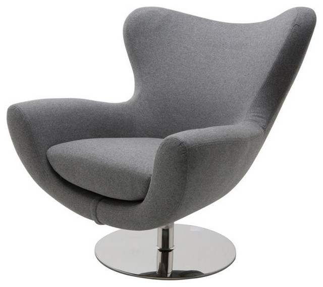 Comfortable Lounge Chair With High Polish Stainless Steel Swivel Base -  Modern - Armchairs And Accent Chairs - by ARTEFAC