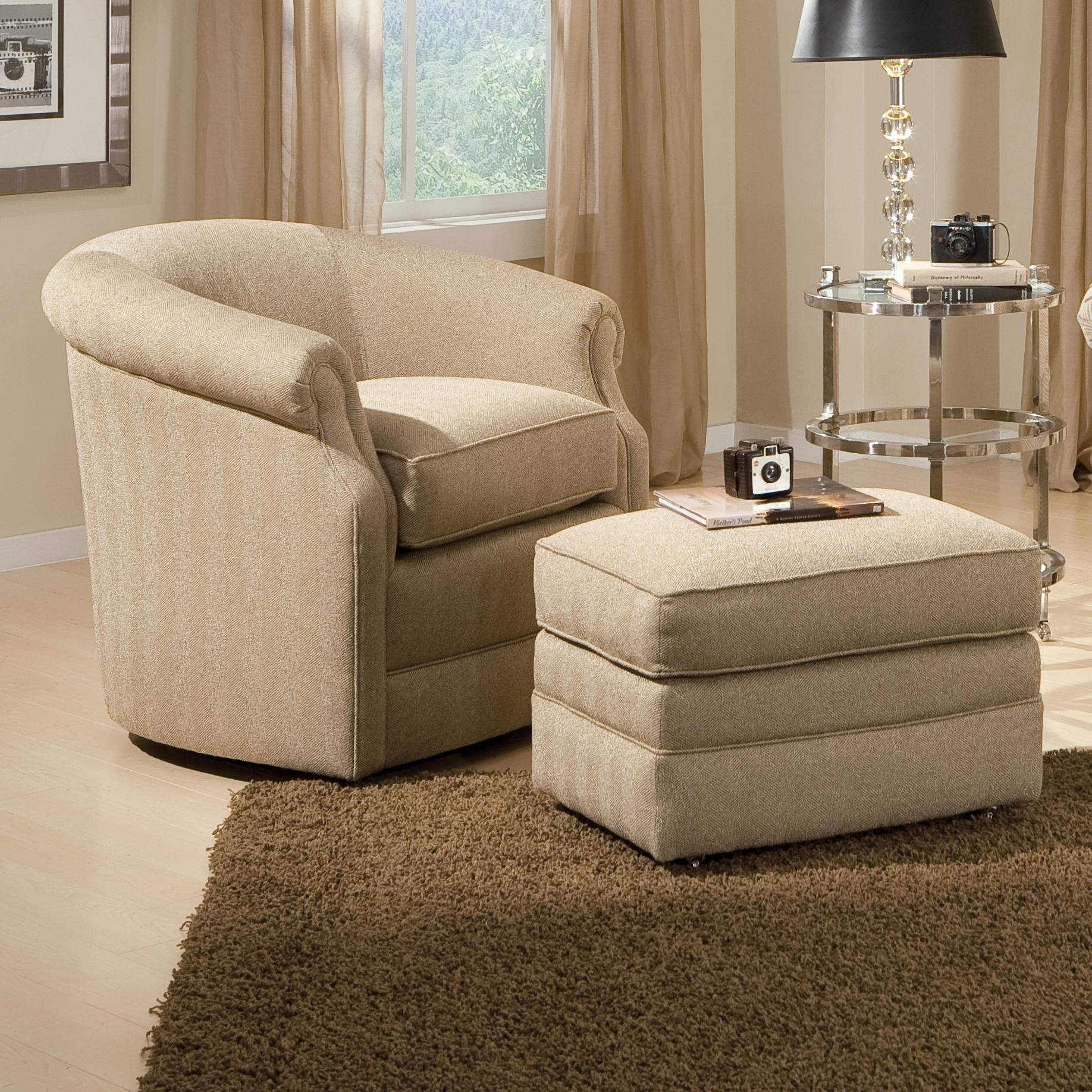 Barrel Swivel Chair and Ottoman with Casters