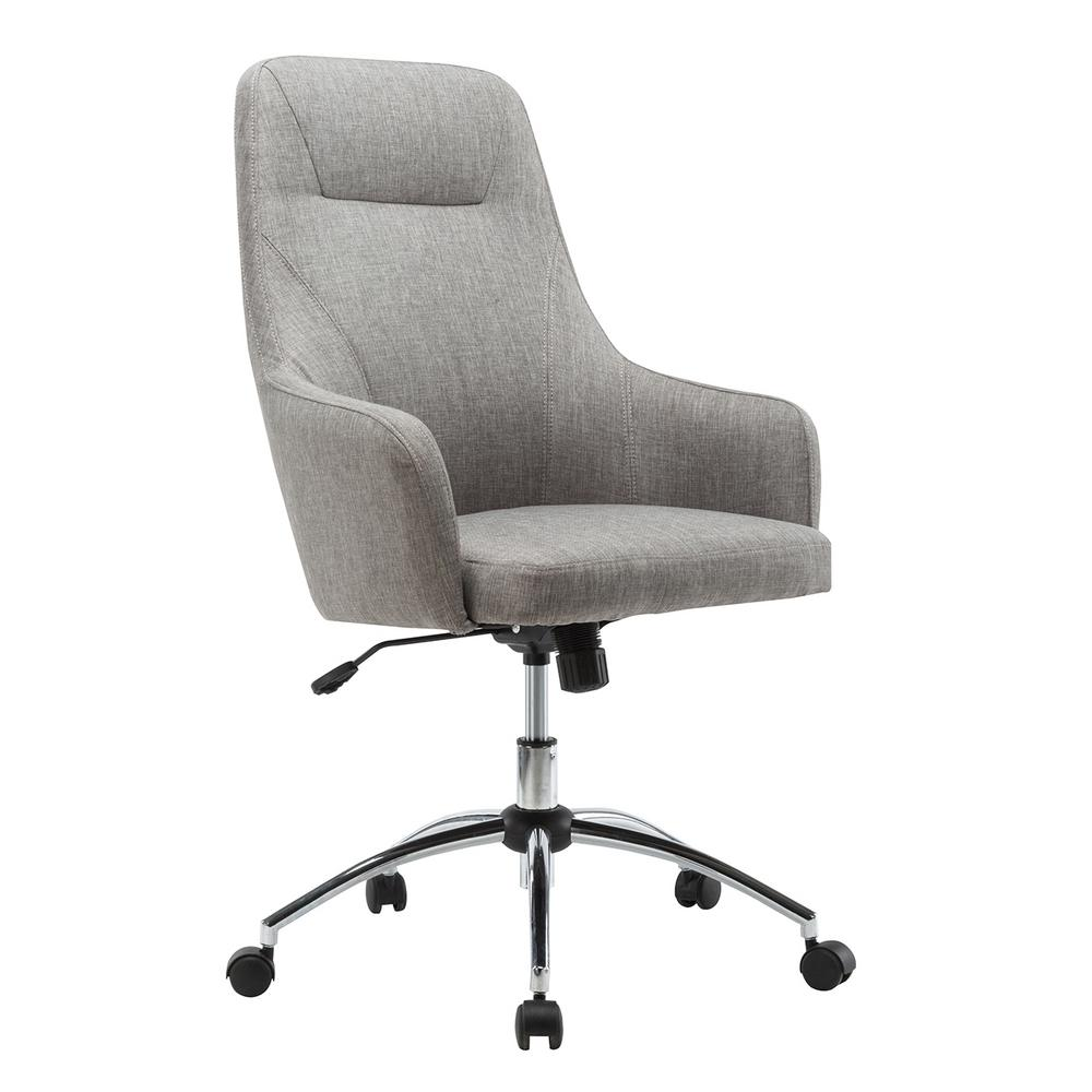 Techni Mobili Gray Comfy Height Adjustable Rolling Office Desk Chair-RTA-1005-GRY  - The Home Depot
