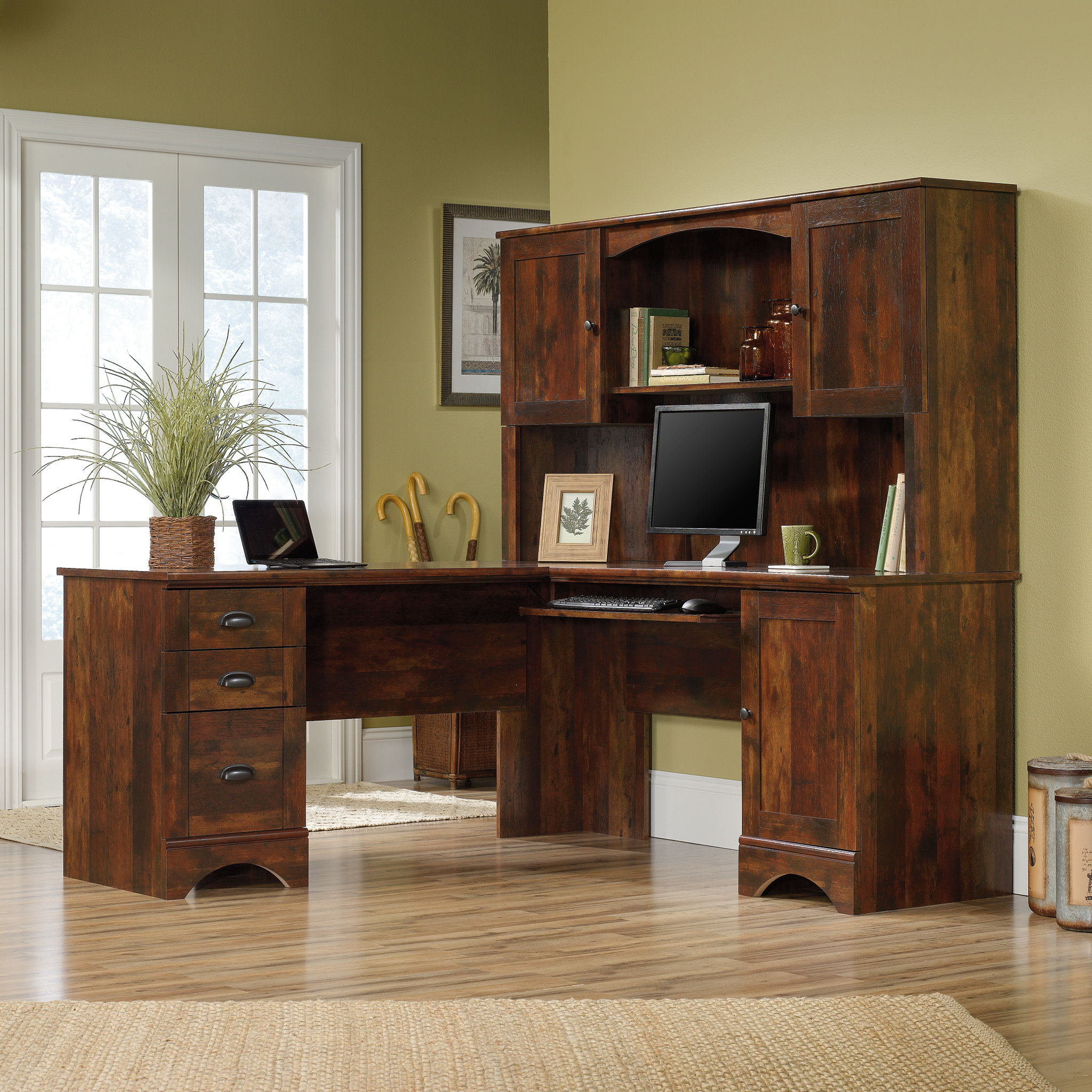 Beachcrest Home Pinellas L-Shape Computer Desk with Hutch & Reviews |  Wayfair