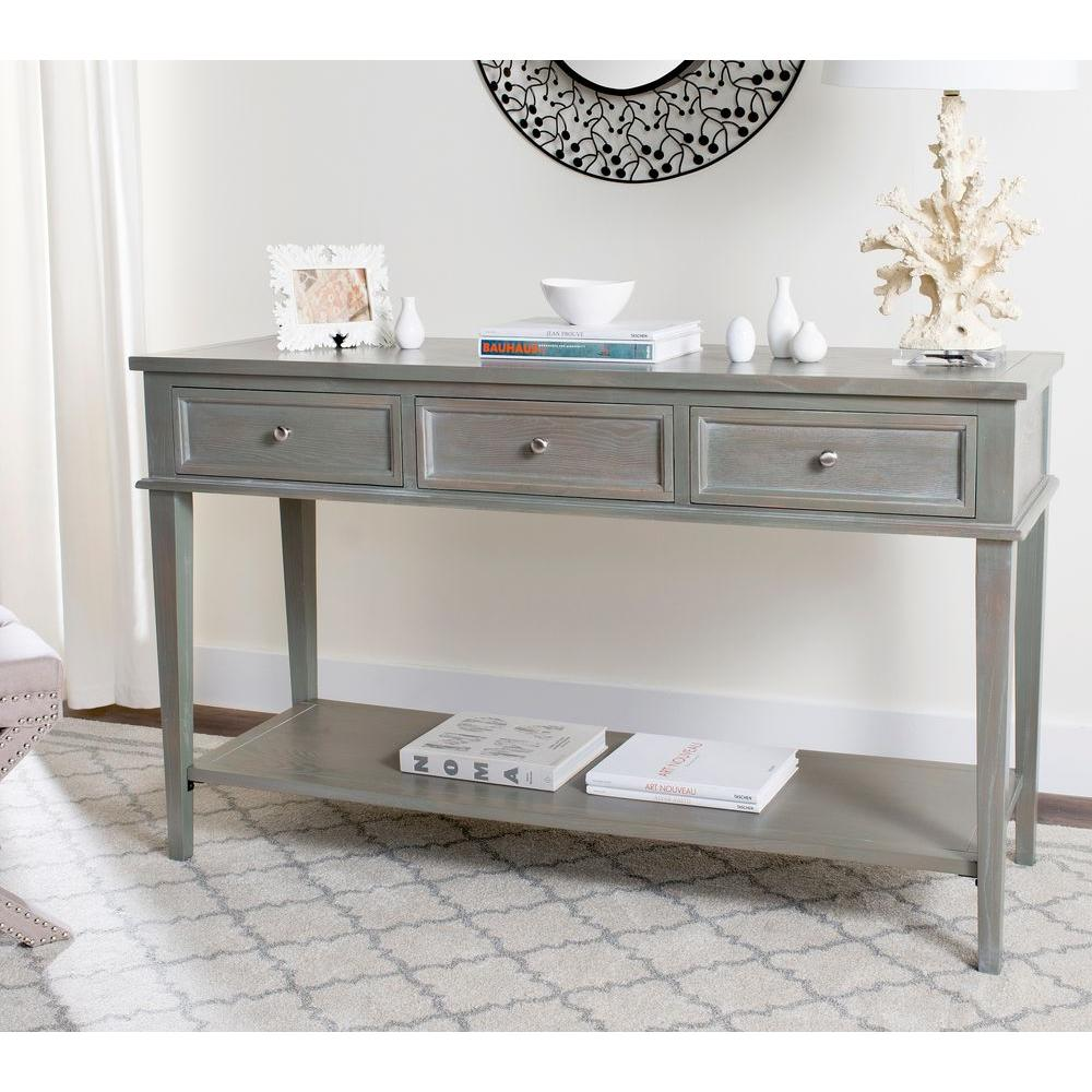 Safavieh Manelin Ash Gray Storage Console Table-AMH6641C - The Home Depot