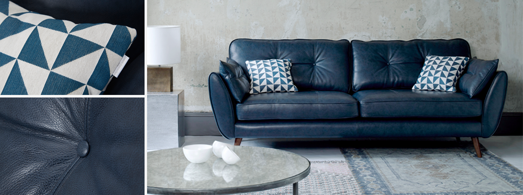 Iconica Palladium Sofa Zinc Modern leather sofa by French Connection