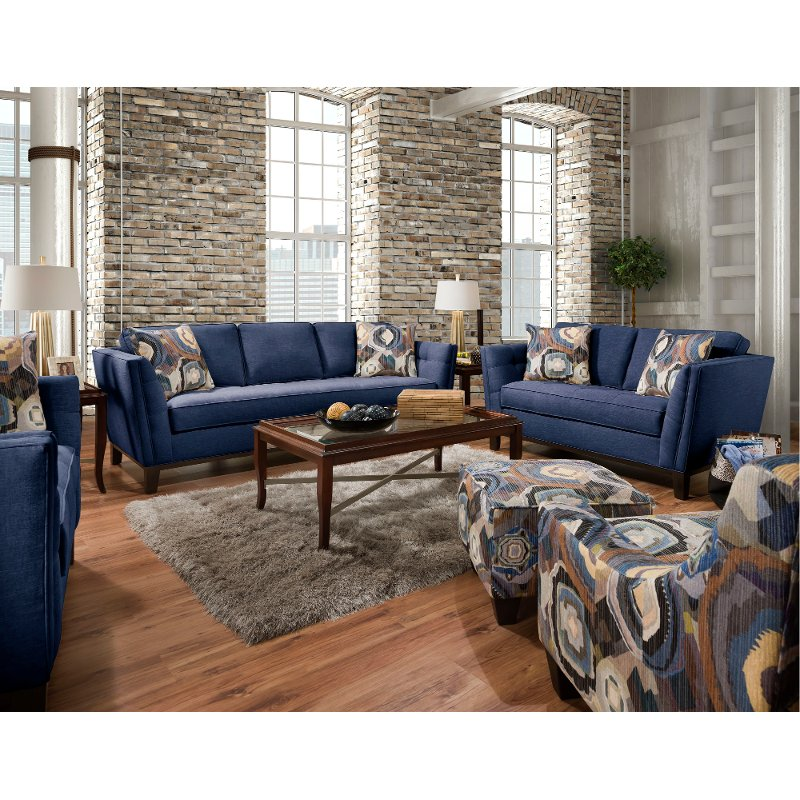 Mid-Century Modern Blue 2 Piece Living Room Set - Patchquilt   RC Willey  Furniture Store