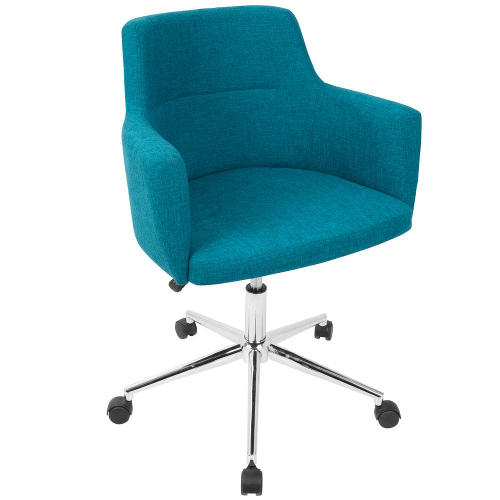 Lumisource Andrew Contemporary Adjustable Teal Fabric Office Chair